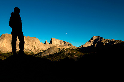 Moon Rising Over EastTemple. Wesley Gooch Taking in the Wind River views.