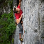 Jakub Galczynski climbing at the Shady Wall